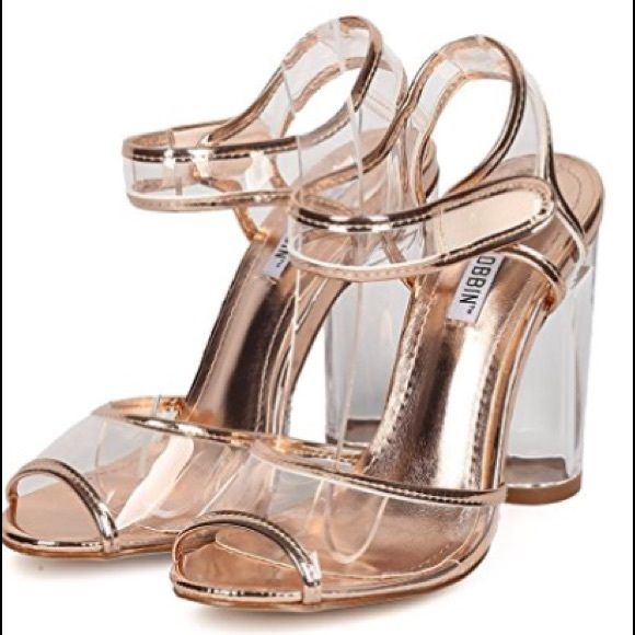 5df0413d29a8 Rose gold peep toe clear straps lucite heel sandal